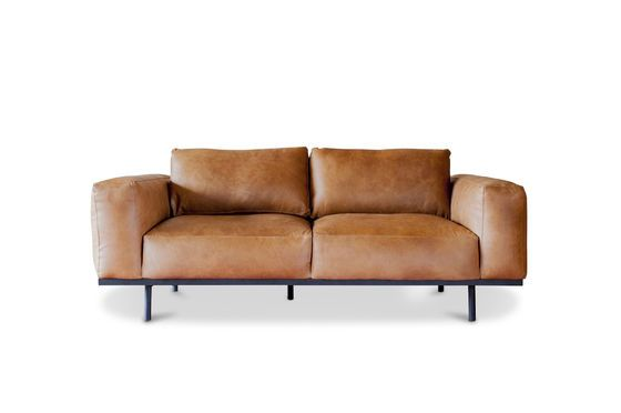 Sofá de cuero marrón Almond Clipped