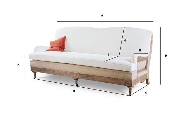 Dimensiones del producto Sofá de tela Gustave