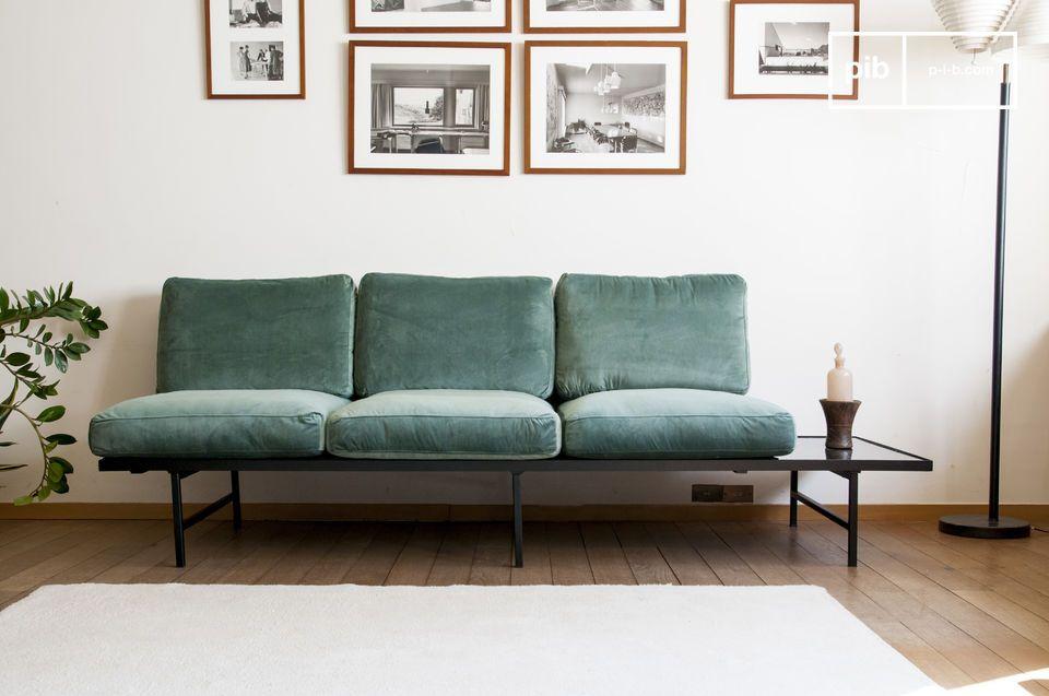Sofá de terciopelo y mármol Carthy