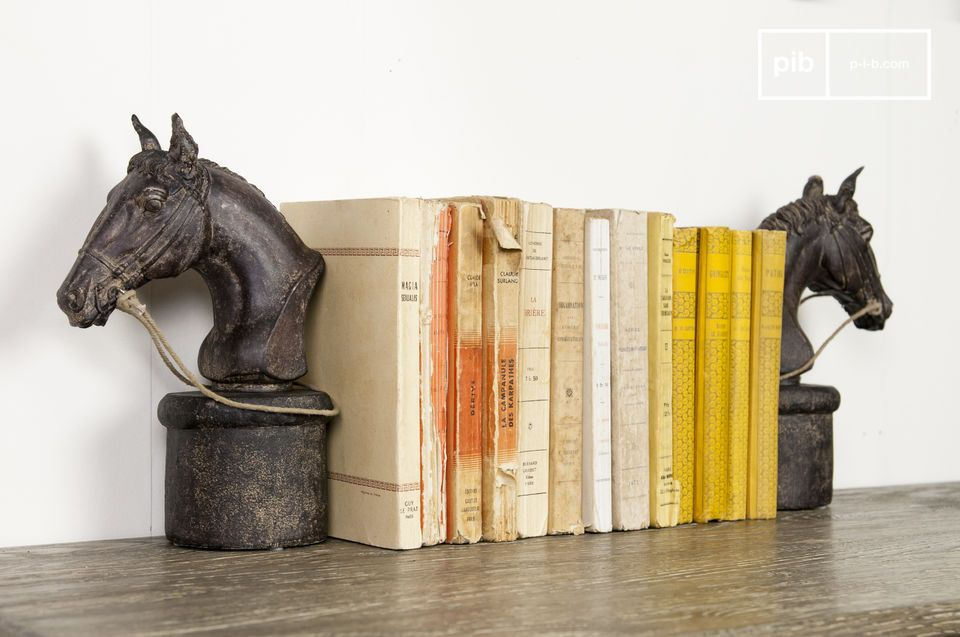 Sujeta libros en forma de caballo