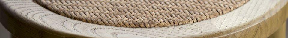 Descriptivo Materiales  Taburete Pampelune con acabado natural