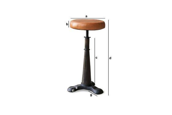 Dimensiones del producto Taburete Tailor con silla de cuero